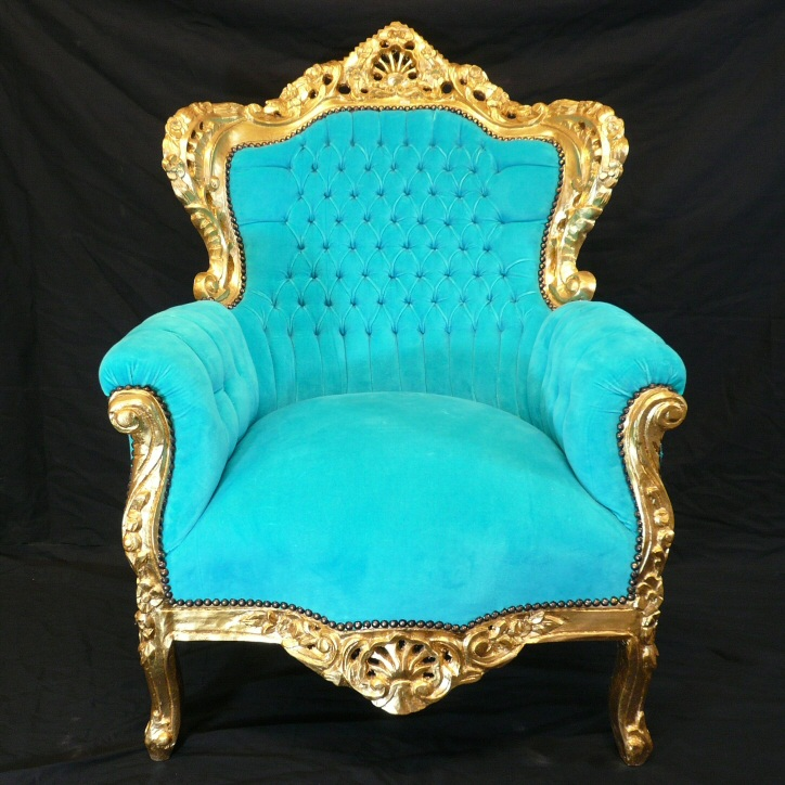 Sillon turquesa on pinterest rococo chair vintage armchair and barn bathroom - Fauteuil baroque ikea ...