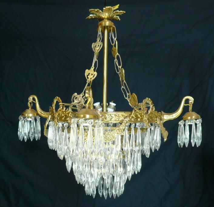 lustre en bronze pampilles meubles art d co lampe. Black Bedroom Furniture Sets. Home Design Ideas