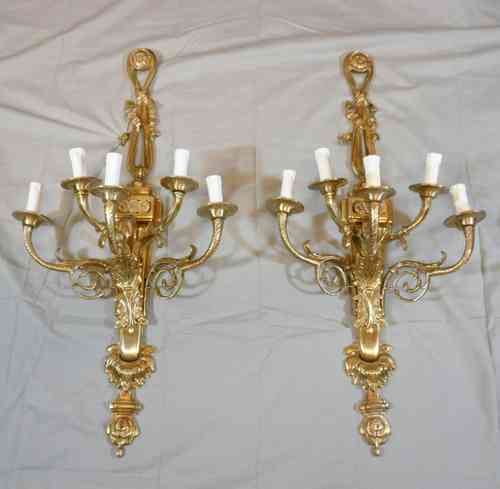 Pair of bronze wall sconces style louis XVI