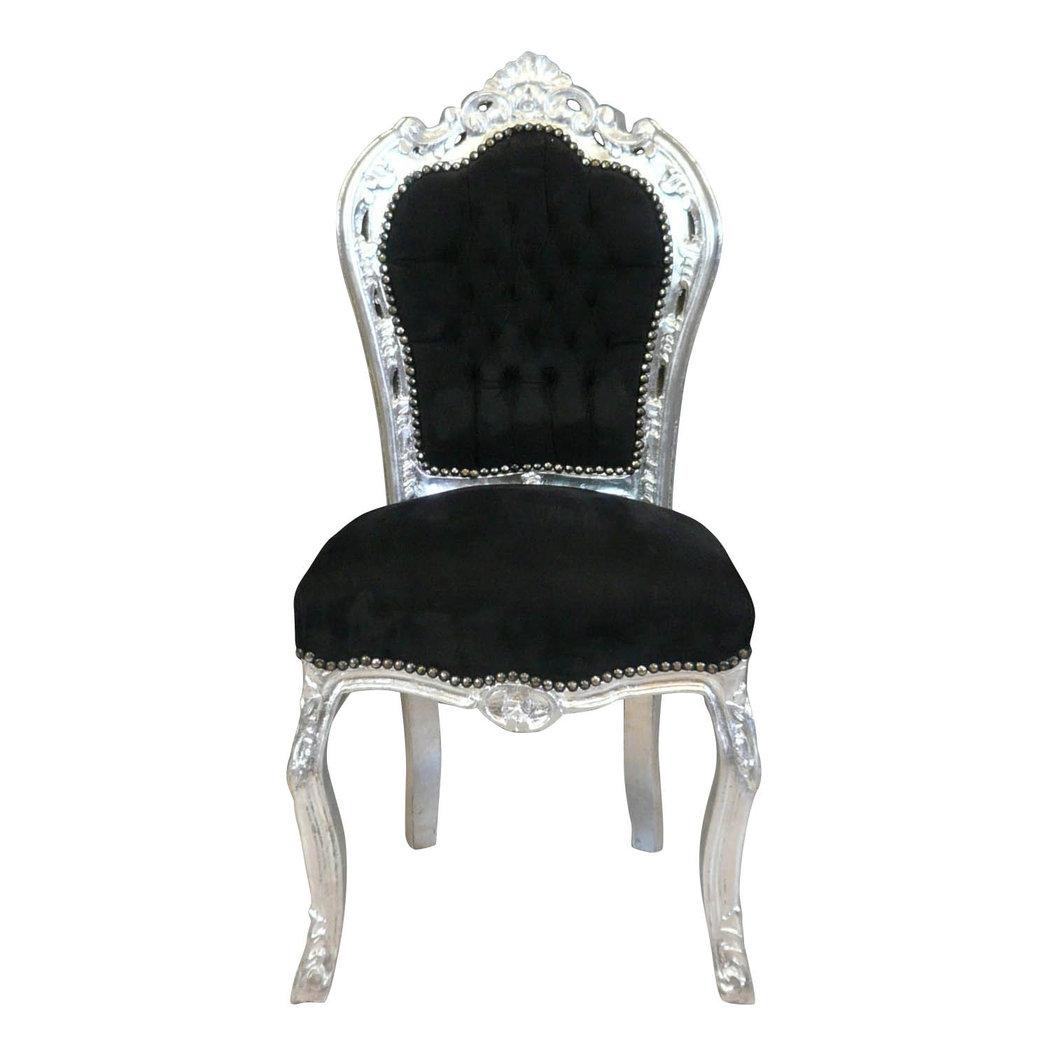 Chaise baroque noire et argent canap baroque for Chaise baroque avec accoudoir