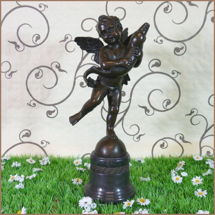 Angelot au dauphin en bronze meubles art d co lampe tiffany fauteuil baroque vase m dicis - Meuble tiffany ...