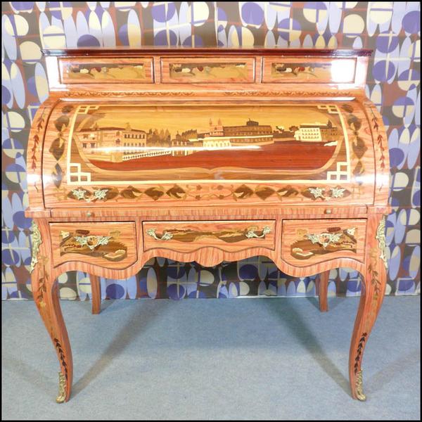 Secr taire cylindre de style louis xv meubles art d co lampe tiffany fauteuil baroque - Meuble tiffany ...