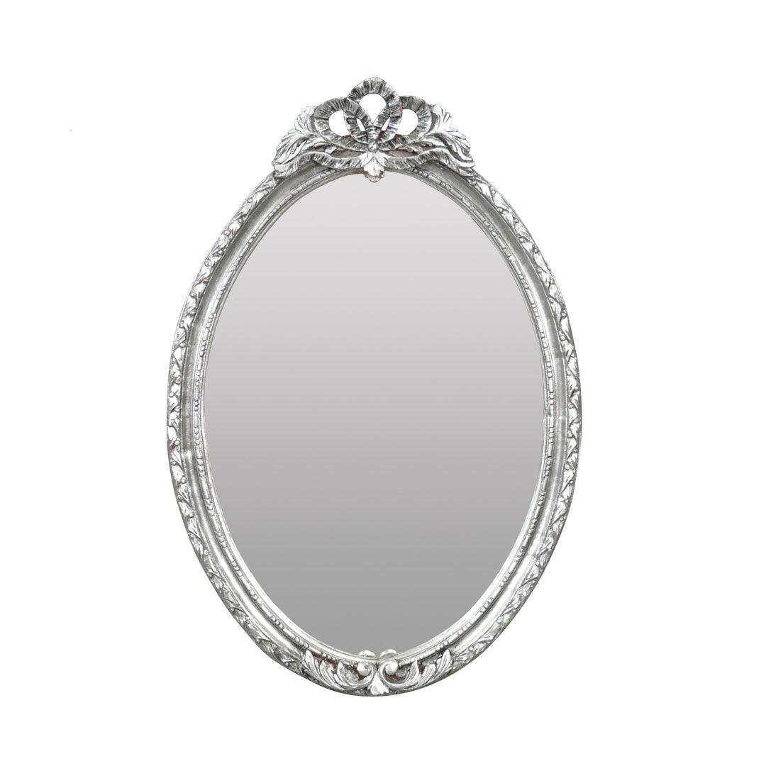 Miroir louis xvi style baroque en bois massif argent for Miroir argent baroque
