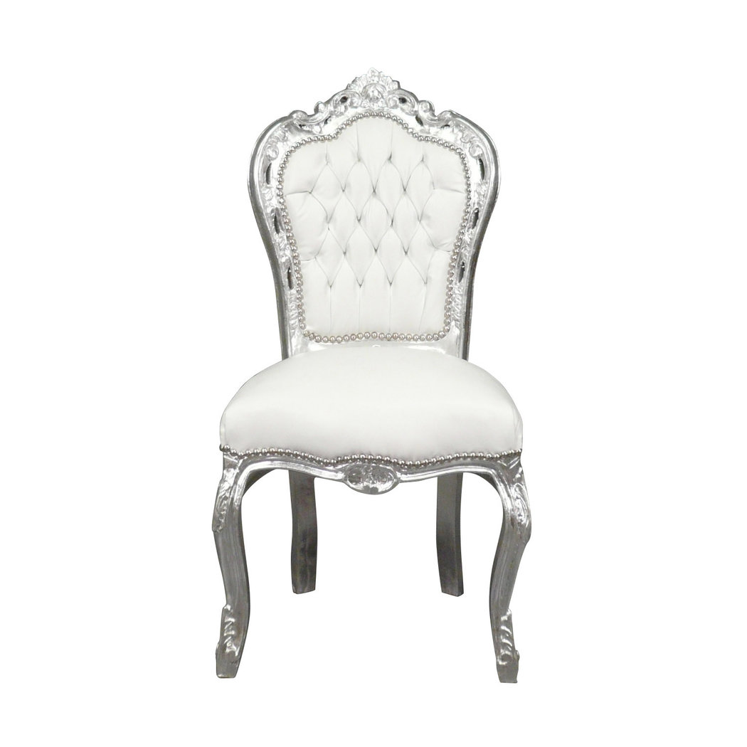Chaise baroque banche et bois argent for Chaise photo