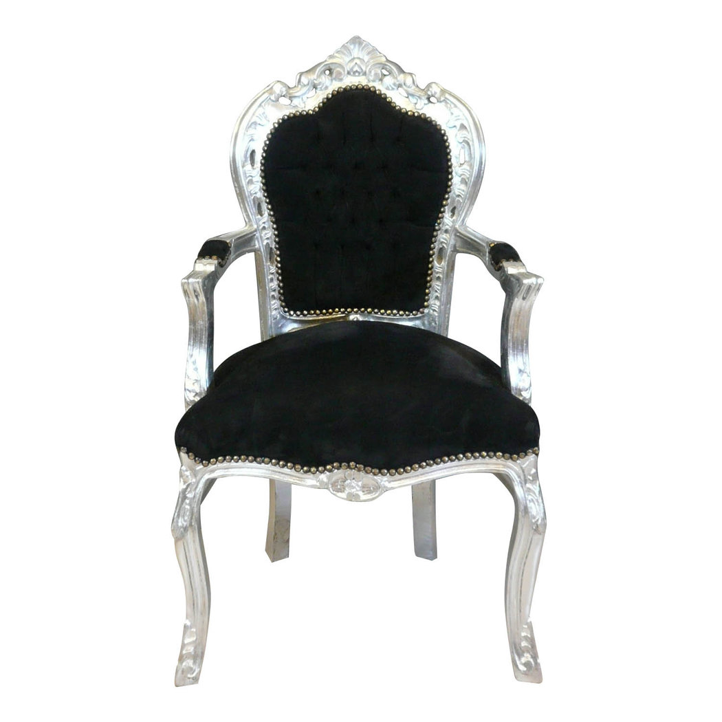 fauteuil baroque noir et argent chaise baroque noire. Black Bedroom Furniture Sets. Home Design Ideas