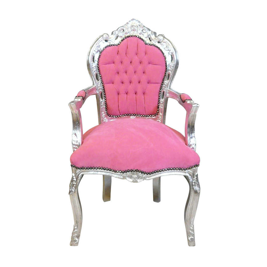 fauteuil baroque rose et argent meuble baroque. Black Bedroom Furniture Sets. Home Design Ideas