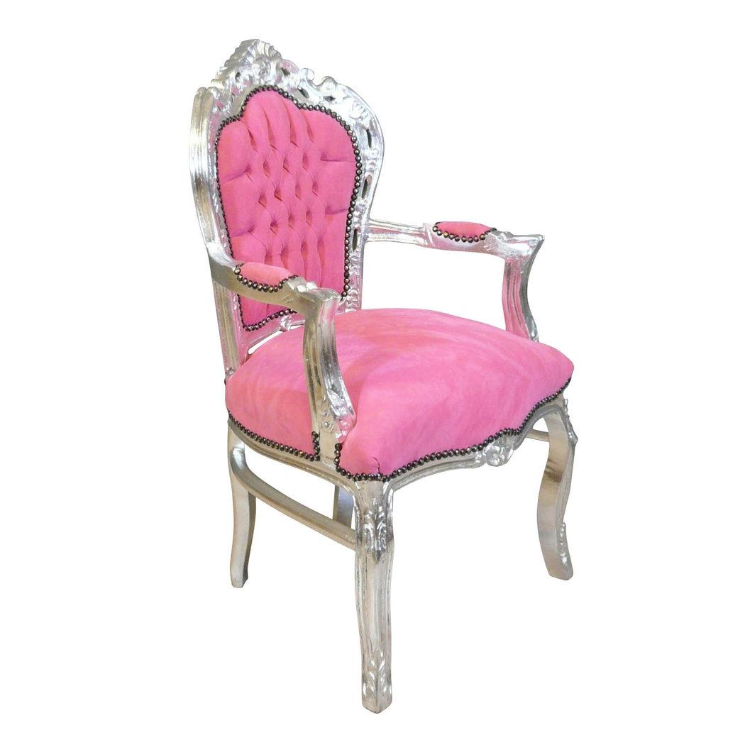 fauteuil baroque rose et argent meuble baroque. Black Bedroom Furniture Sets. Home Design Ideas