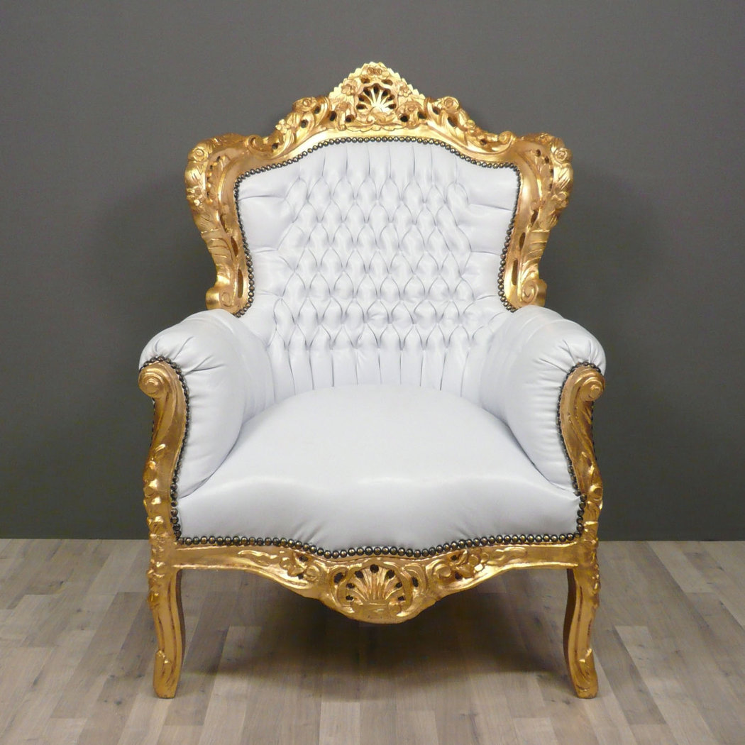 White baroque armchair tiffany lamps bronze statues for Chaise fauteuil