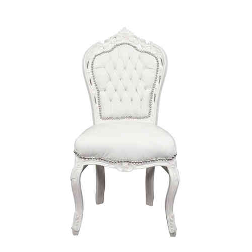 chaise baroque blanche