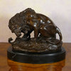 Lion au serpent - Statue bronze
