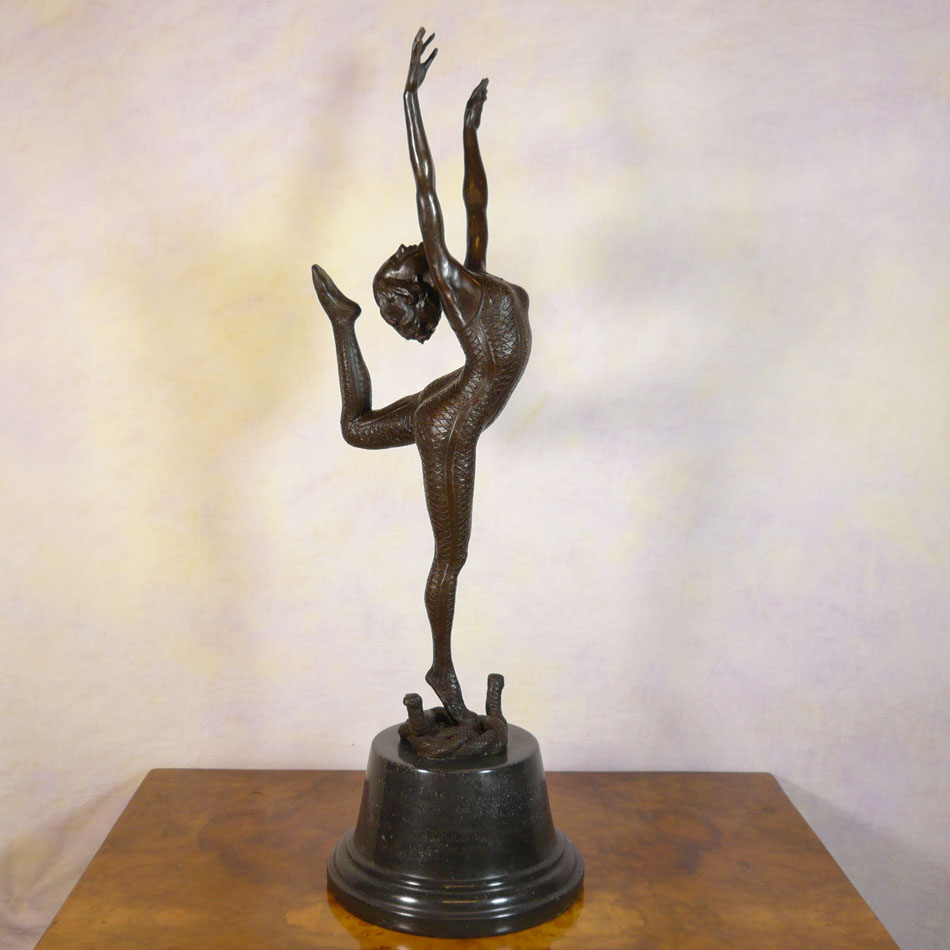 Art deco bronze statue snake dancer sculptures for Figurine decoration jardin
