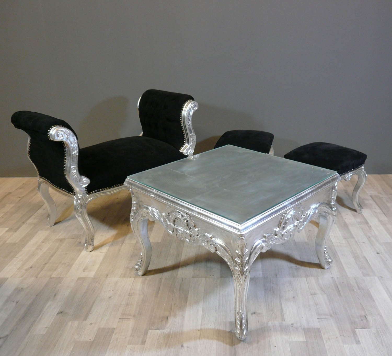 Silver coffee table coffee table glass and silver coffee - Table basse a led pas cher ...