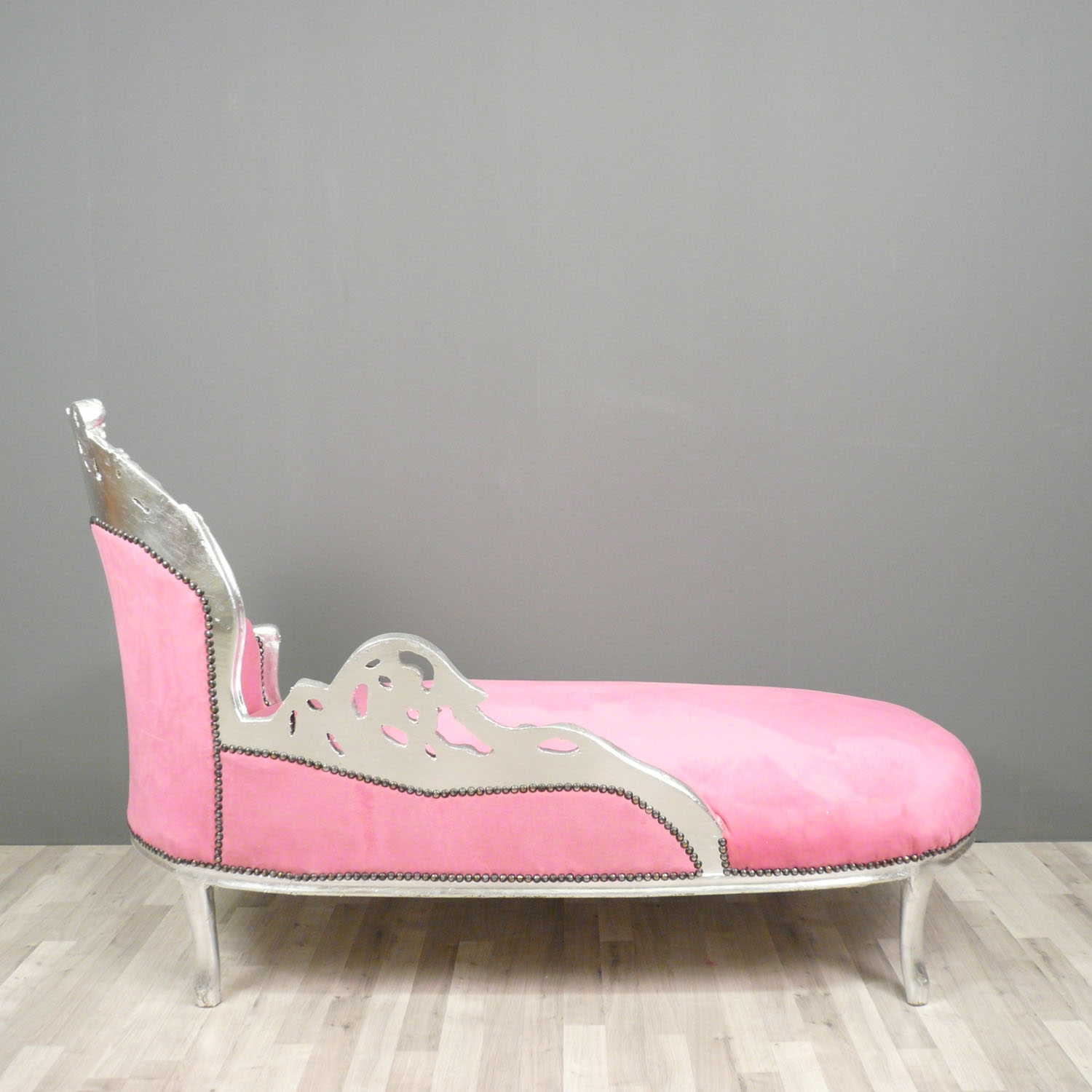 Baroque pink and silver chaise lounge art deco - Chaise baroque argentee ...