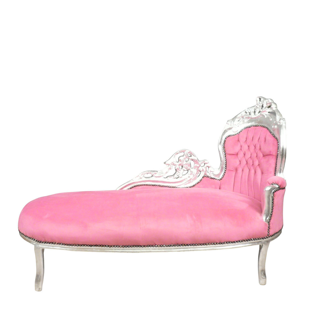 Baroque pink and silver chaise lounge art deco for Baroque chaise lounge sofa