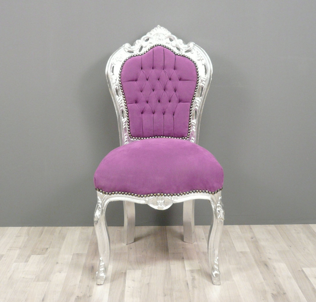 Chaise baroque violette meuble baroque - Chaise baroque rose ...