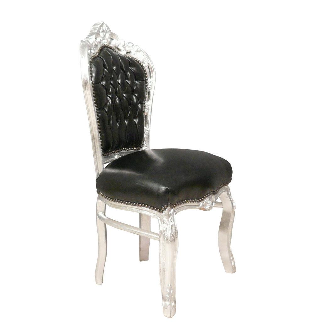 chaise baroque noire et argent en simili cuir. Black Bedroom Furniture Sets. Home Design Ideas