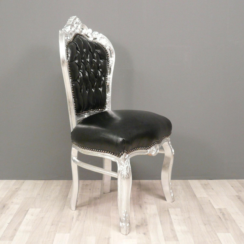 Chaise baroque noire et argent en simili cuir for Chaise baroque avec accoudoir