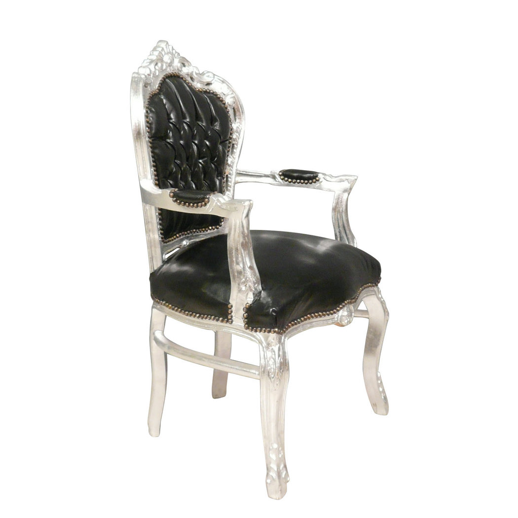 Baroque armchair black and silver PVC