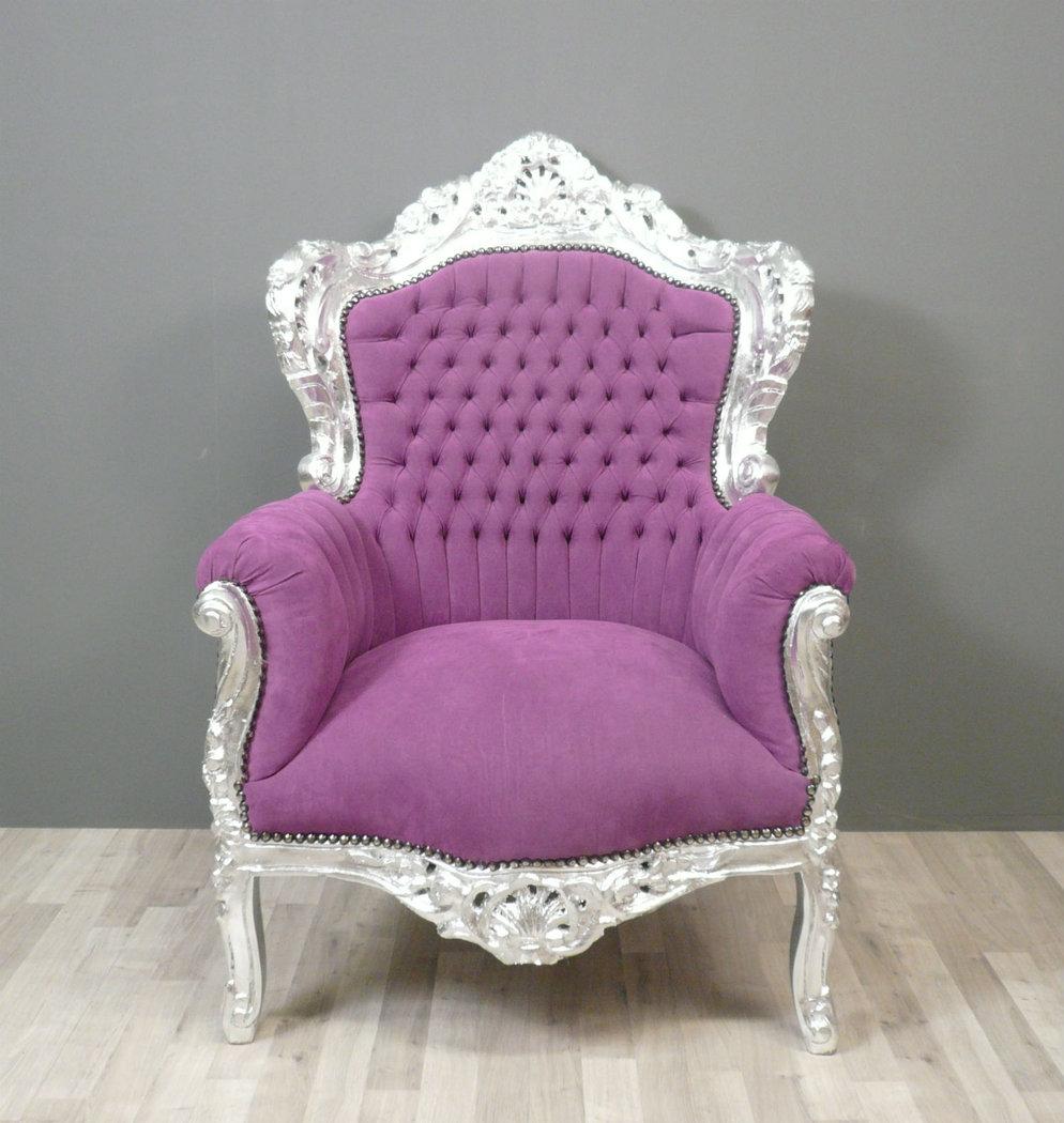 Fauteuil baroque violet chaise baroque et meuble - Fauteuil 2 places baroque ...