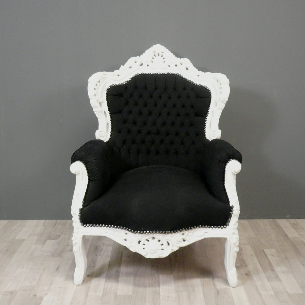 fauteuil baroque noir et blanc chaise. Black Bedroom Furniture Sets. Home Design Ideas