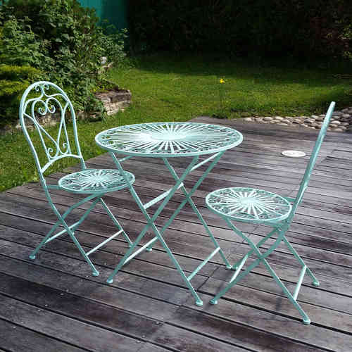 Fer forg salon de jardin en fer forg chaise table for Salon de jardin en fer