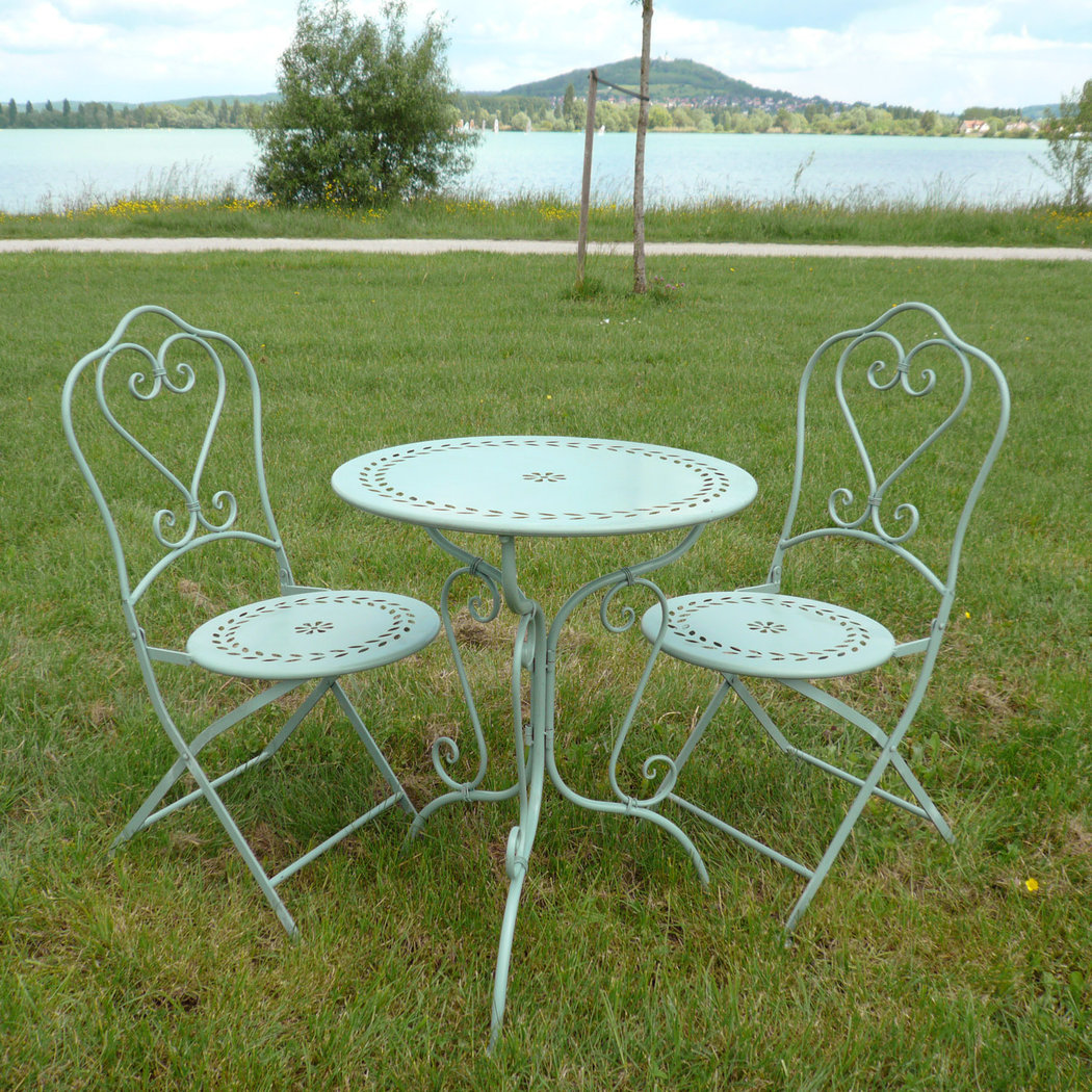 Wrought iron garden furniture tables chairs benches - Table de jardin ronde pas cher ...