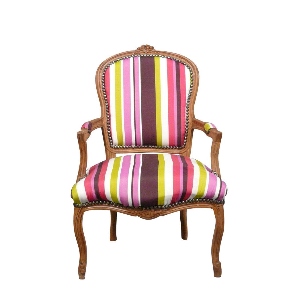 fauteuil louis xv multicolore et bois naturel meubles de style. Black Bedroom Furniture Sets. Home Design Ideas