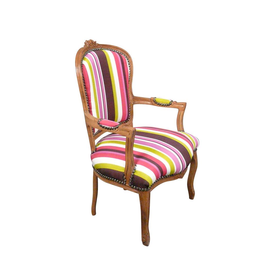 fauteuil louis xv multicolore et bois naturel meubles de. Black Bedroom Furniture Sets. Home Design Ideas