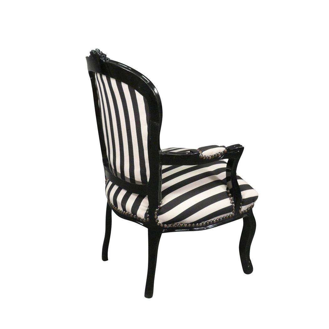 Fauteuil louis xv tissu noir et blanc chaises et meubles de style - Fauteuil enfant noir ...