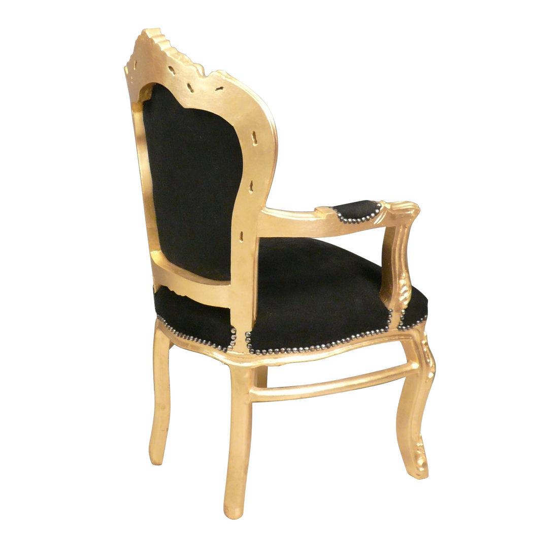 Fauteuil baroque noir et dor chaises et meubles art d co for Petit banc baroque