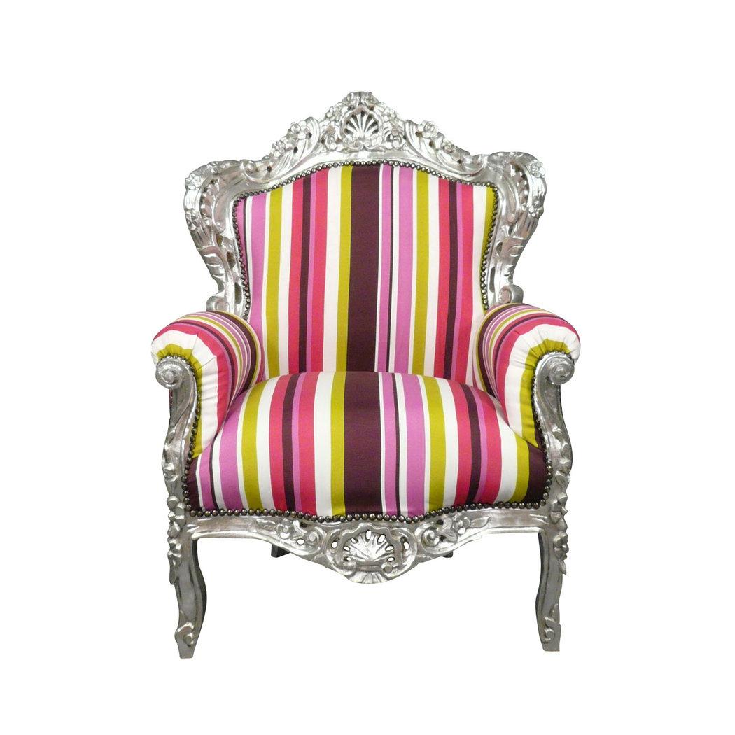 Fauteuil baroque multicolore chaises et meubles art d co for Poltrone barocche