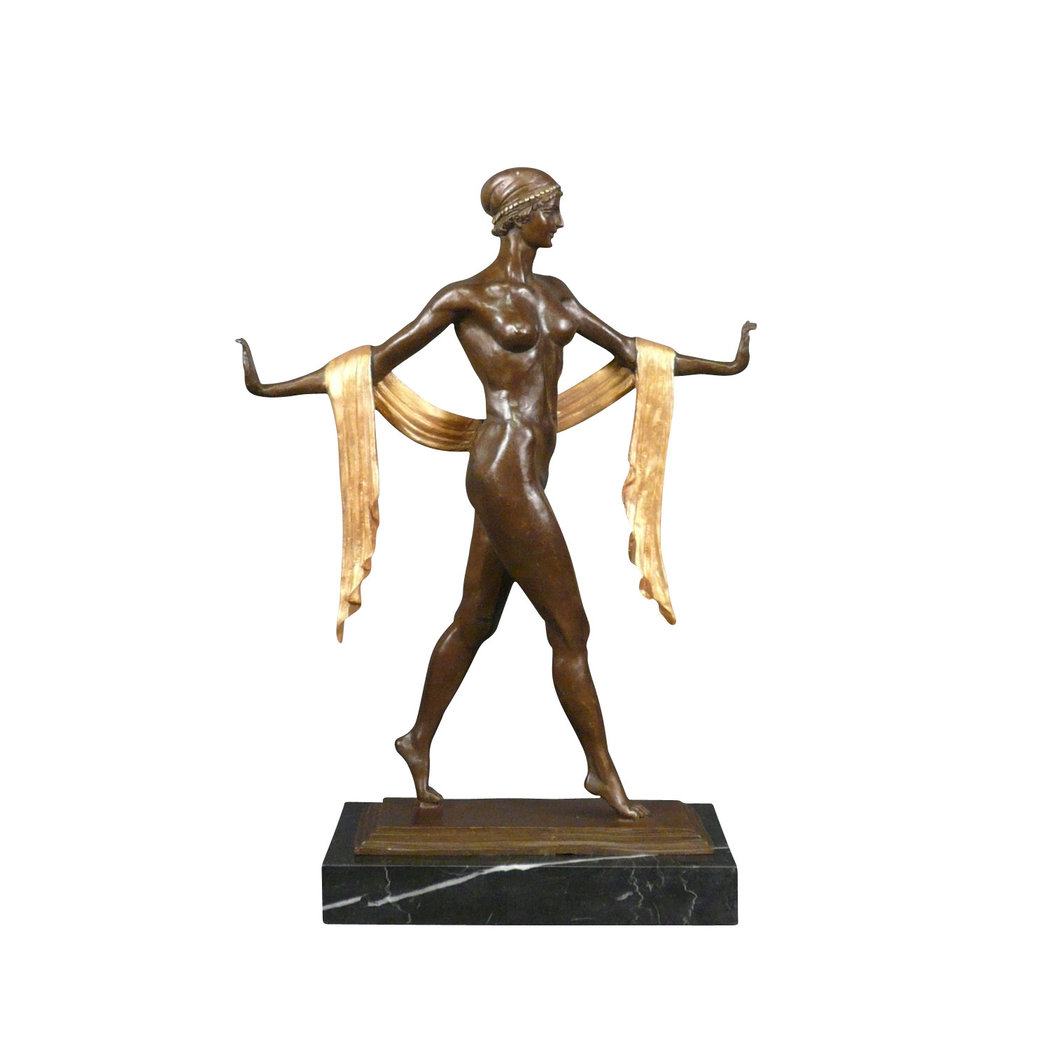 Bronze statue brown and gold art deco statue for Statue deco jardin