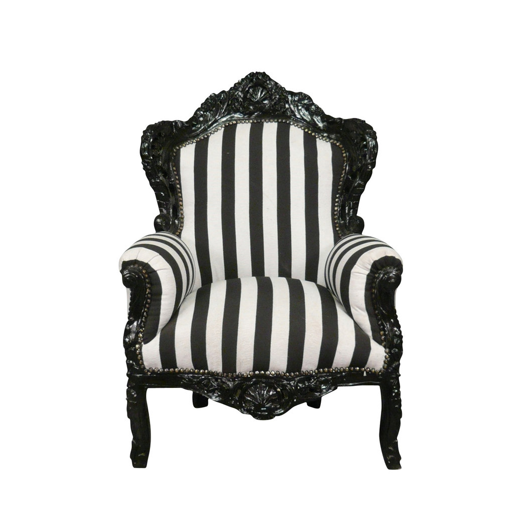 Barock Sessel Schwarz Weiß Stuhl Möbel Ludwig Xvi