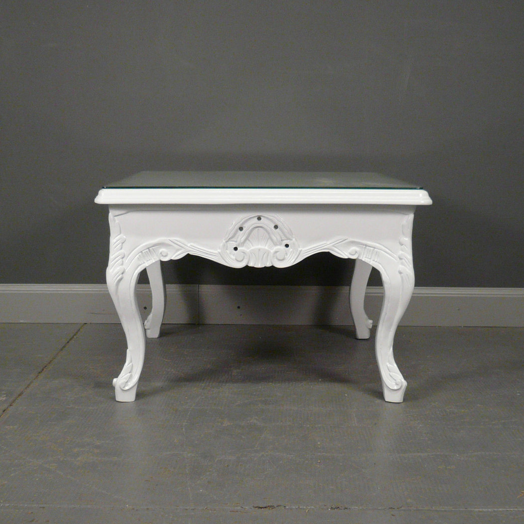 Table basse baroque blanche meuble baroque for Table basse blanche en bois