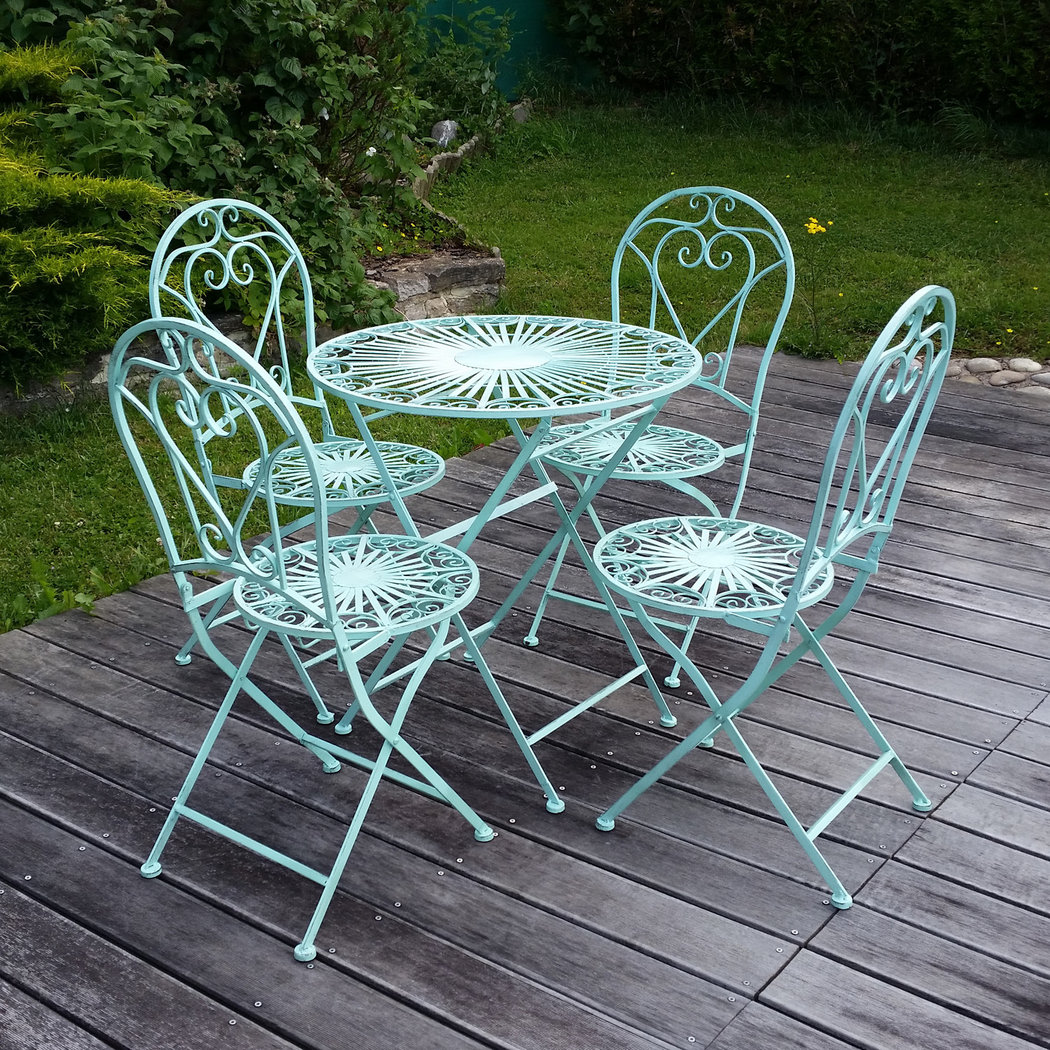 Muebles de jard n de hierro forjado mesa silla banco for Muebles de jardin de hierro forjado