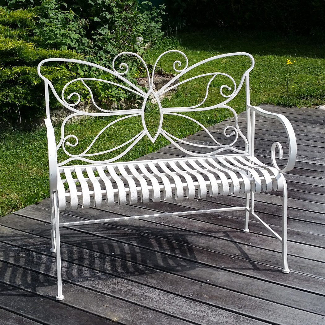 banc de jardin en fer forg papillon table chaise. Black Bedroom Furniture Sets. Home Design Ideas