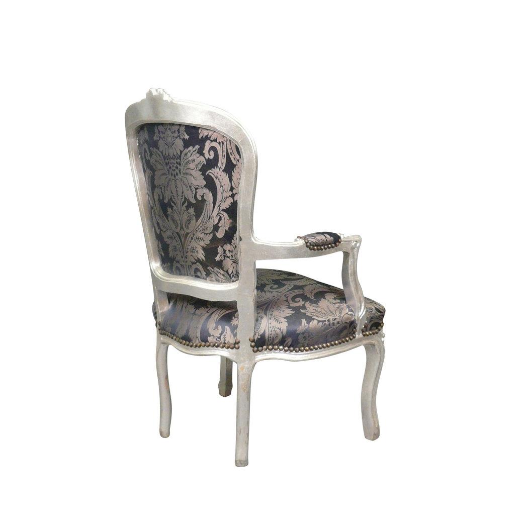 fauteuil louis xv bleu et argent chaise baroque. Black Bedroom Furniture Sets. Home Design Ideas