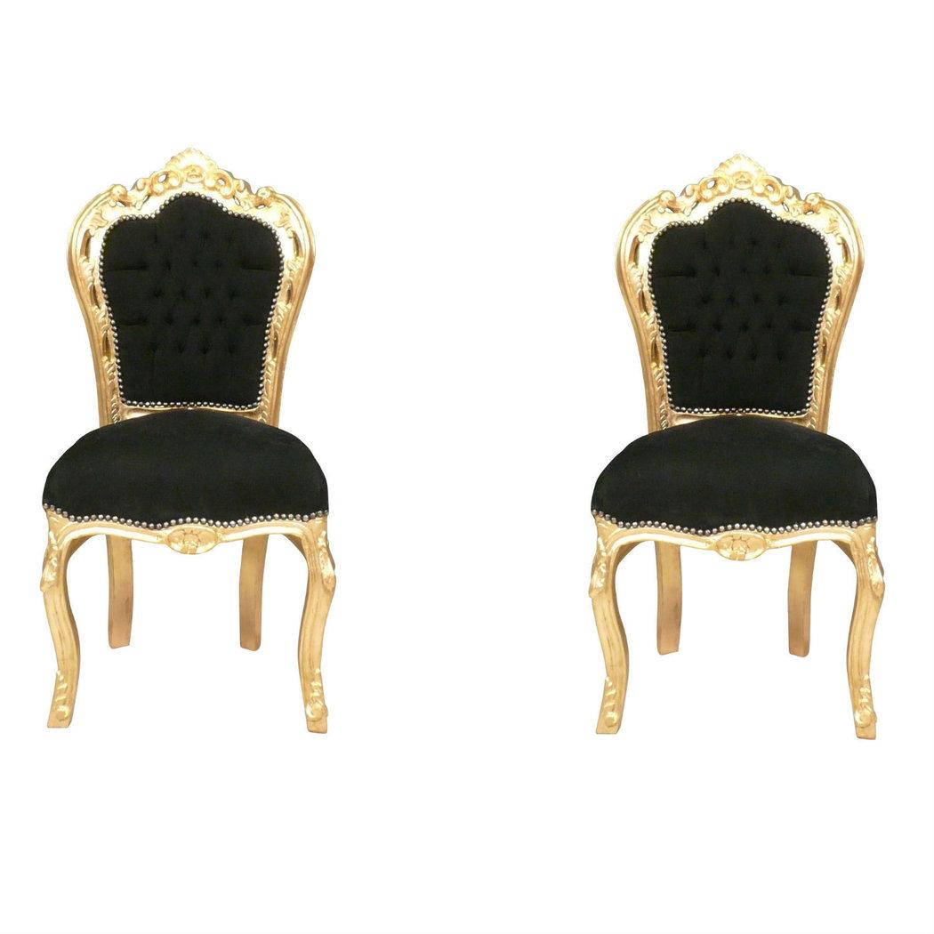 Chaise baroque noire et or fauteuils louis xv for Chaise 1er prix