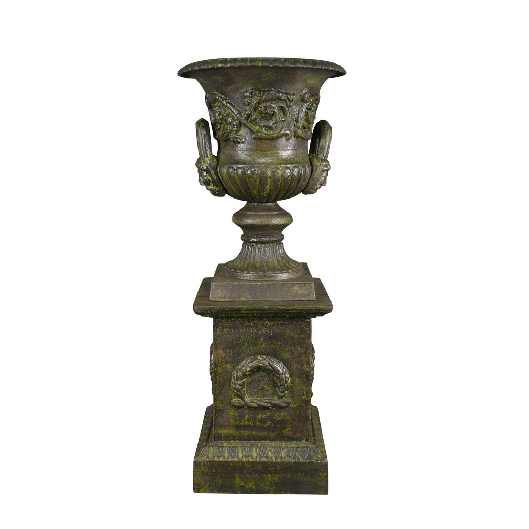 medicis vase in cast iron with a pedestal green vase medicis. Black Bedroom Furniture Sets. Home Design Ideas