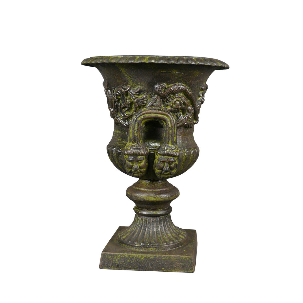 medicis vase in cast iron with a pedestal green vase medicis. Black Bedroom Furniture Sets. Home Design Ideas