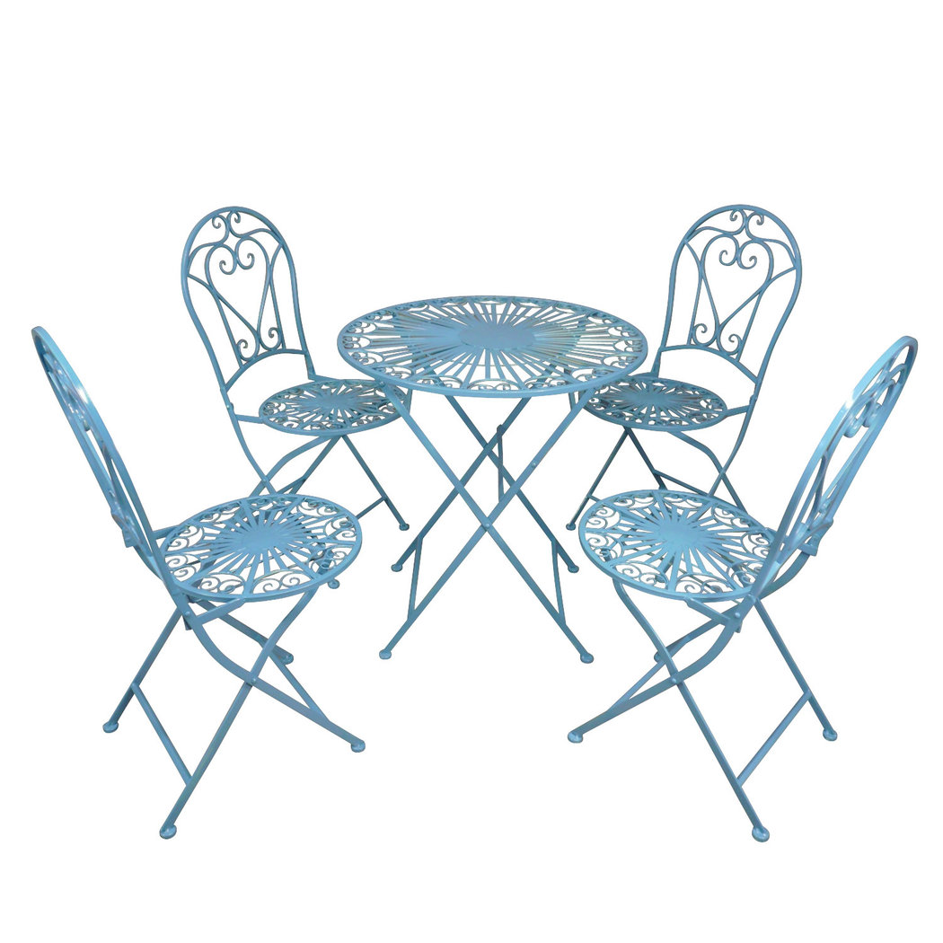 Salon de jardin en fer forgé bleu - Table - Chaise - Banc