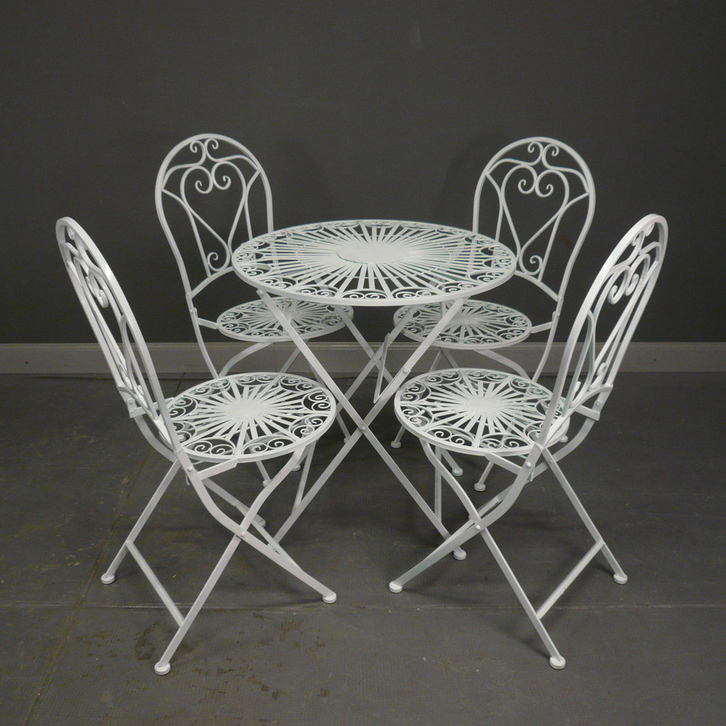 Salon de jardin en fer forg blanc table chaise banc for Salon de jardin en fer forge