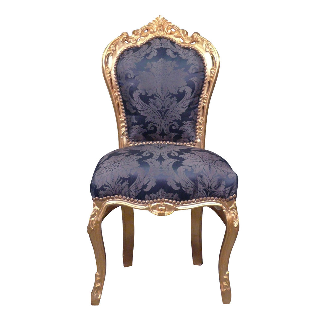 chaise baroque bleue style rococo. Black Bedroom Furniture Sets. Home Design Ideas