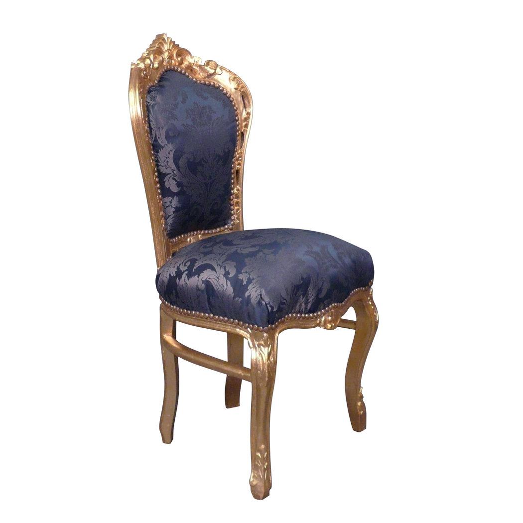 Chaise baroque bleue style rococo - Chaise baroque avec accoudoir ...