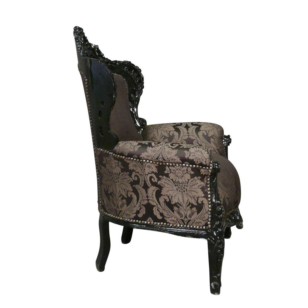 Fauteuil baroque noir rococo meuble baroque for Meuble tv baroque pas cher
