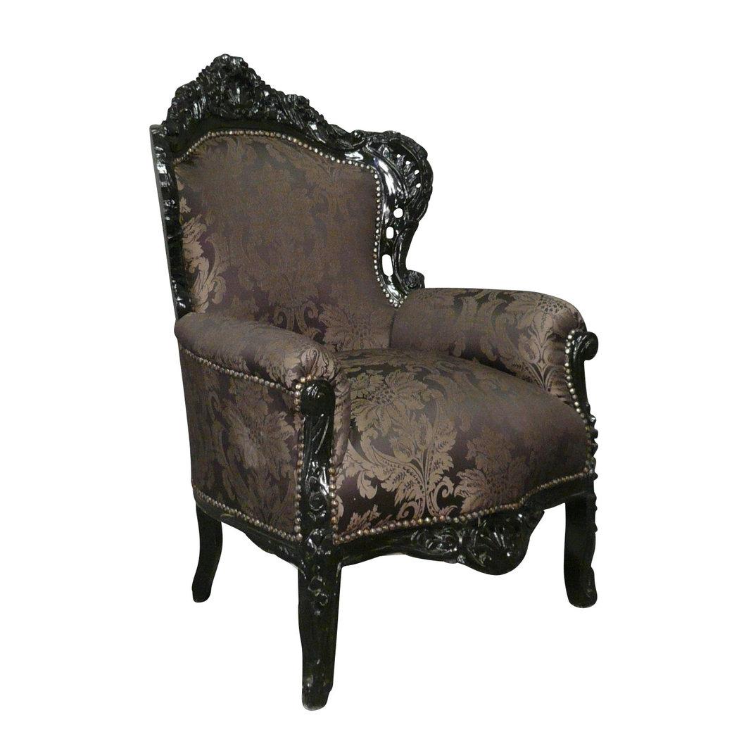 Fauteuil baroque noir rococo meuble baroque for Meuble fauteuil
