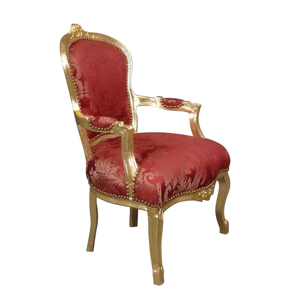 fauteuil louis xv rouge rococo meuble baroque. Black Bedroom Furniture Sets. Home Design Ideas