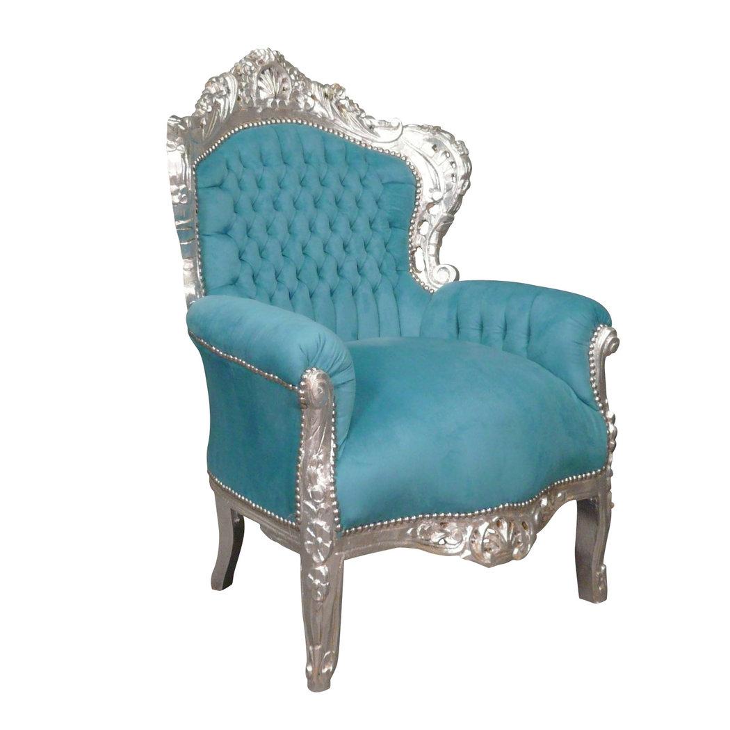 Fauteuil baroque bleu turquoise meuble baroque for Meuble fauteuil