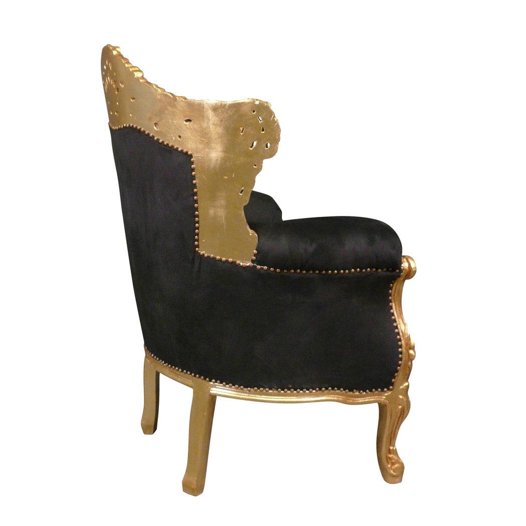 fauteuil baroque noir en velours et bois dor meubles baroques. Black Bedroom Furniture Sets. Home Design Ideas