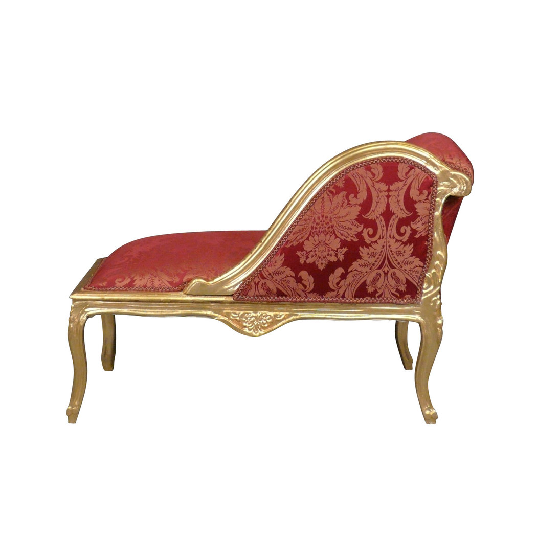 Chaise longue louis xv red baroque furniture - Chaise baroque argentee ...